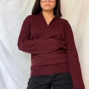 Men's Small J.Crew Burgundy Quarter Zip Sweater